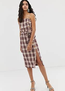 Miss Selfridge midi skirt with paper bag waist in check-Red