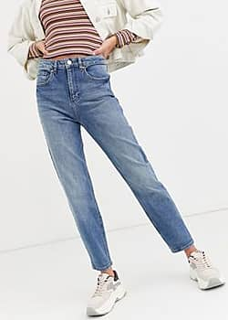 mom jeans in mid wash-Blue
