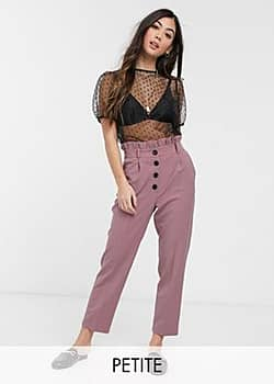 Miss Selfridge button frill top paperbag trousers in rose-Pink
