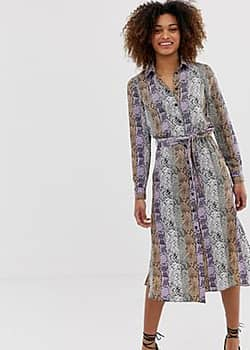 Miss Selfridge snake midi shirt dress in lilac-Purple