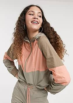 hooded jacket with contrast piping in colour block-Multi