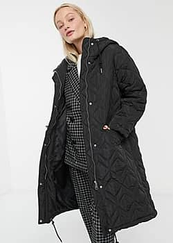 quilted hooded midi coat in black