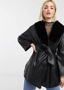tie waist faux leather jacket with faux fur lining in black
