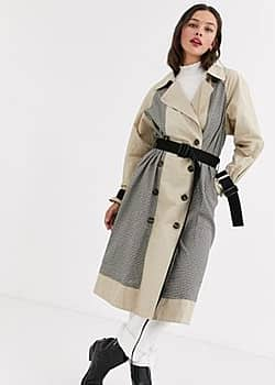 Moon River mixed check trench coat-Beige