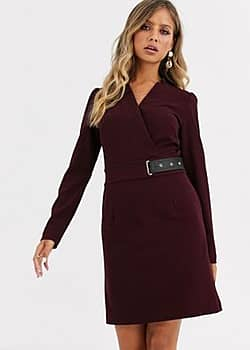Morgan buckle detail pencil dress in berry-Red