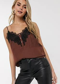 contrast lace cami top in brown