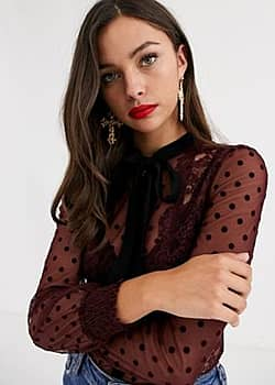 dotty lace trim sheer blouse with contrast tie detail in berry-Red