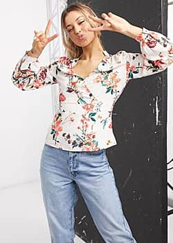 plunge front peplum blouse in multi floral