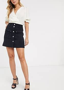 Morgan textured mini skirt with button pocket detail in navy-Blue