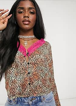 deep plunge blouse in mesh leopard print with neon lace-Brown