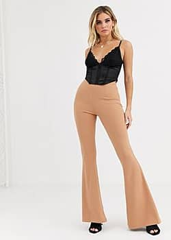 NaaNaa tailored flare trouser in camel-Brown