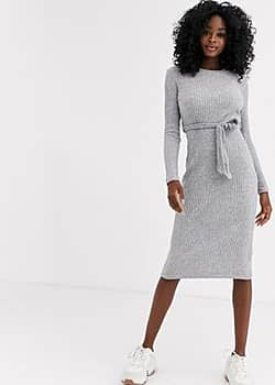 belted midi knitted dress in grey