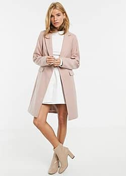 button front coat in light pink