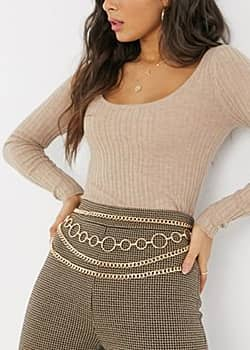chunky layered chain belt in gold
