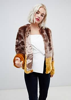 New Look Colour Block Faux Fur Coat-Brown