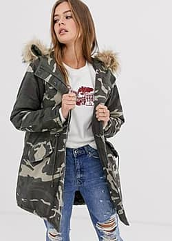 cotton parka jacket in camo-Green