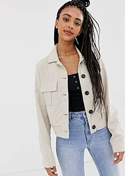 New Look cropped utility jacket in linen-Beige