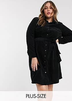 New Look Curve belted cord shirt dress in black