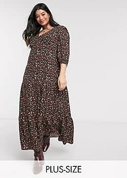 New Look Curve maxi smock dress in black ditsy floral