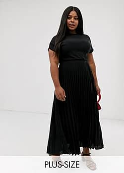 New Look Curve pleated maxi dress in black