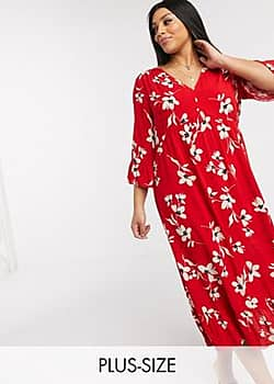 New Look Curve tiered maxi dress in red floral