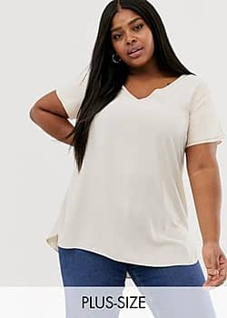 New Look Curve tunic tee in off white
