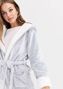 frosted robe in dark grey