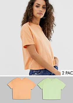 organic crop tee 2 pack in coral/green-Multi