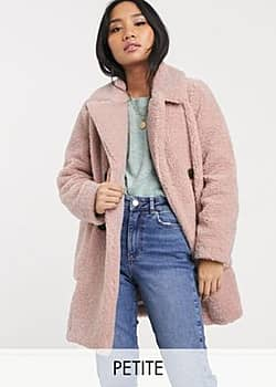 borg coat in pale pink