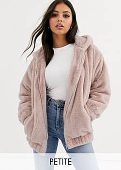 fur hooded bomber in pink