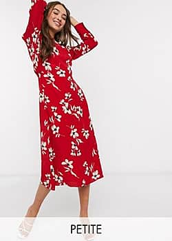 New Look high neck midi dress in red pattern