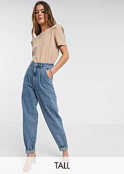 New Look balloon leg jeans in mid blue