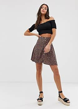 skirt in ditsy floral pattern-Black