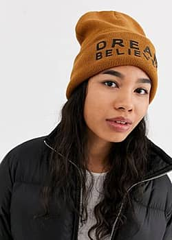 Noisy May Jack slogan beanie hat-Brown