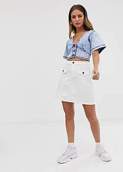 Noisy May pocket front denim mini skirt-White