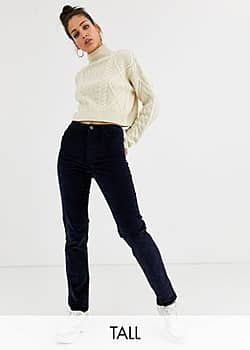 cord straight leg trousers in navy