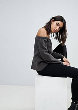 NYTT Alexa Off Shoulder Flared Sleeve Top-Grey