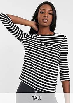 Only Amanda 3/4 sleeve stripe shirt with bow detail-Black