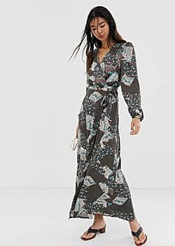 Only paisley wrap maxi dress-Brown