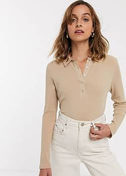Only ribbed polo top in camel-Beige