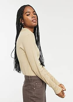 Only ribbed roll neck top in tan