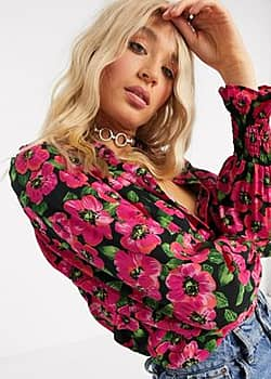 button front shirt in floral print-Multi