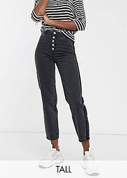 Only Kelis button front mom jeans in black-Orange