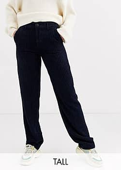 Only wide leg cord trouser in navy