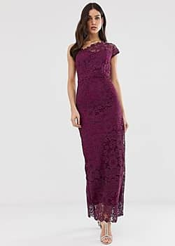 all over lace one shoulder maxi dress-Purple