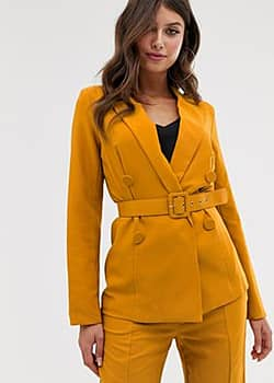 double breasted belted blazer-Yellow