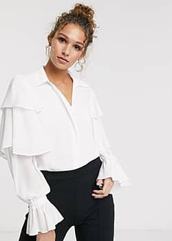 frill sleeve blouse in white