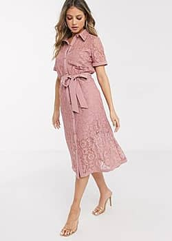 lace shirt dress in dusky rose-Pink