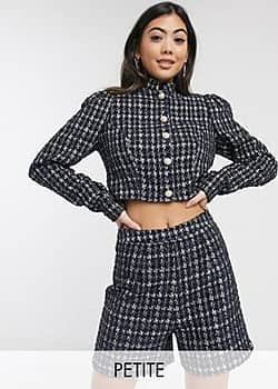 Paper Dolls boucle jacket co-ord-Navy