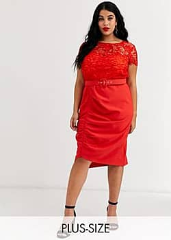 belted lace midi dress in red